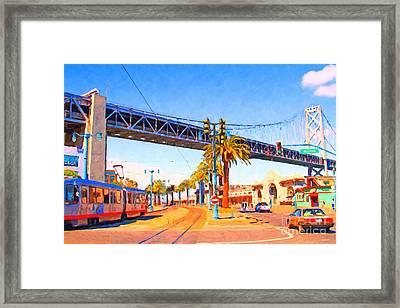 San Francisco Embarcadero And The Bay Bridge Framed Print by Wingsdomain Art and Photography