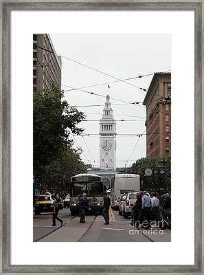 San Francisco Ferry Building At End Of Market Street - 5d17863 Framed Print by Wingsdomain Art and Photography