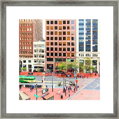 San Francisco Market Street - 5d17877 - Square - Painterly Framed Print by Wingsdomain Art and Photography