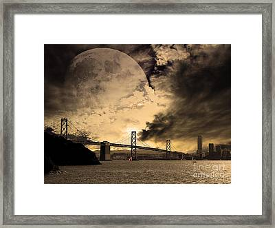 San Francisco Under The Moon Framed Print by Wingsdomain Art and Photography