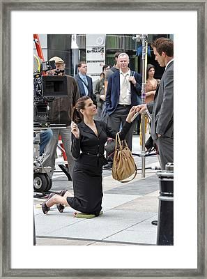 Sandra Bullock Carrying A Prada Bag Framed Print by Everett