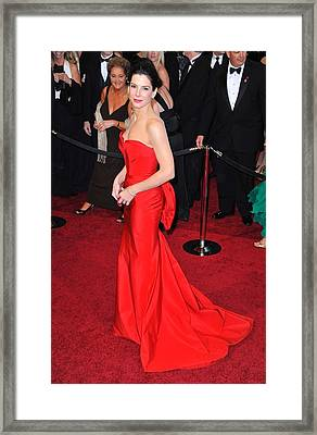 Sandra Bullock Wearing Vera Wang Dress Framed Print by Everett