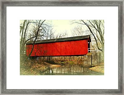 Sandy Creek Bridge In Winter Framed Print by Marty Koch
