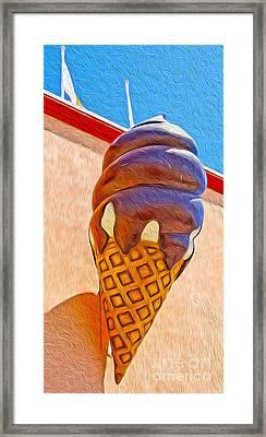 Santa Cruz Boardwalk - Giant Ice Cream Cone Framed Print by Gregory Dyer