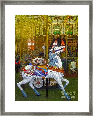 Santa Cruz Boardwalk Carousel Horse Framed Print by Gregory Dyer