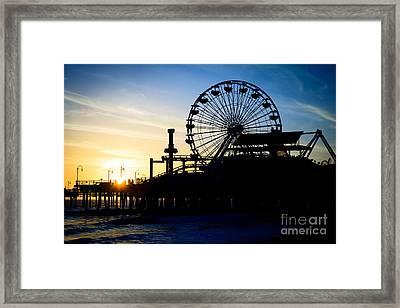 Santa Monica Pier Ferris Wheel Sunset Southern California Framed Print by Paul Velgos