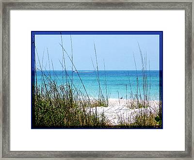 Sarasota Bay At Longboat Beach Framed Print by Ginny Schmidt