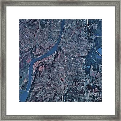 Satellite View Of Little Rock, Arkansas Framed Print by Stocktrek Images