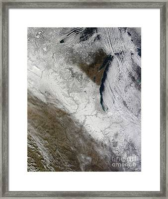 Satellite View Of Snow And Cold Framed Print by Stocktrek Images