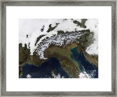 Satellite View Of The Alps Framed Print by Stocktrek Images