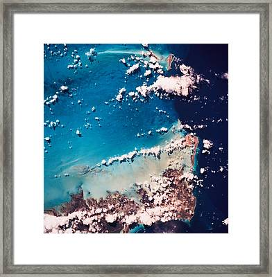 Satellite View Of The Ocean Framed Print by Stockbyte