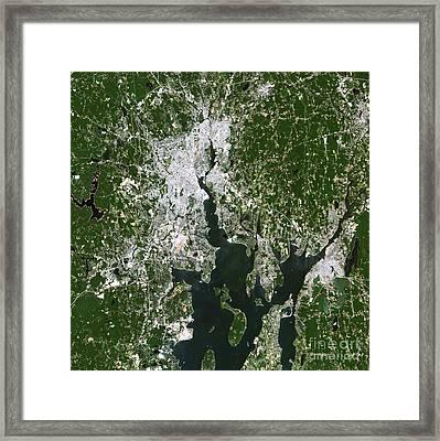 Satellite View Of The Pawtucket Framed Print by Stocktrek Images