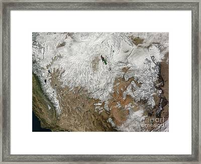 Satellite View Of The Western United Framed Print by Stocktrek Images