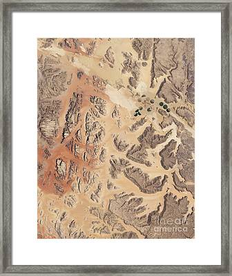 Satellite View Of Wadi Rum Framed Print by Stocktrek Images