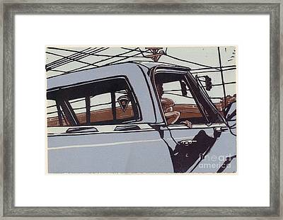 Saturday Afternoon - Linocut Print Framed Print by Annie Laurie