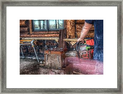 Sawing With The Big Dogs Framed Print by The Stone Age