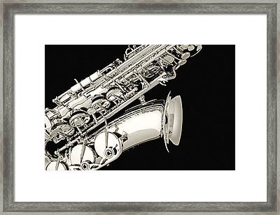 Saxophone Black And White Framed Print by M K  Miller