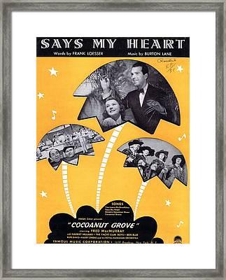 Says My Heart Framed Print by Mel Thompson