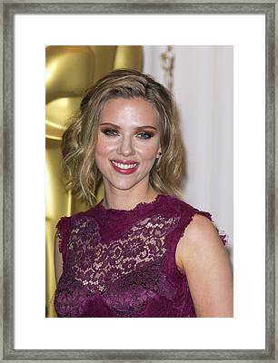 Scarlett Johansson In The Press Room Framed Print by Everett