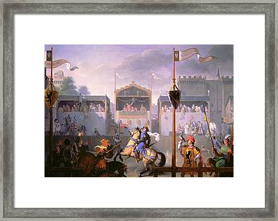 Scene Of A Tournament In The Fourteenth Century Framed Print by Pierre Henri Revoil