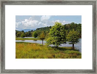 Scenic Lake With Mountains Framed Print by Susan Leggett