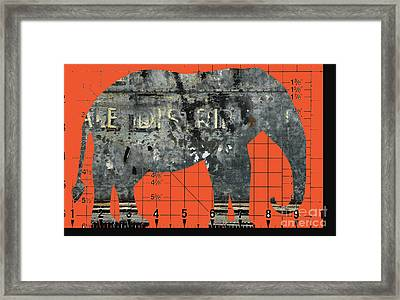 Schematic Elephant Juvenile Art Framed Print by Anahi DeCanio