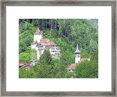 Schloss Wimmis And Church Switzerland Framed Print by Joseph Hendrix