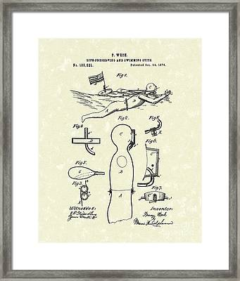 Scuba Suit 1876 Patent Art Framed Print by Prior Art Design