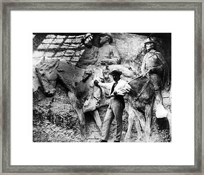 Sculptor Gutzon Borglum In His Studio Framed Print by Everett