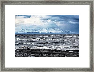 Sea And Mountain In Winter Framed Print by Bgdl