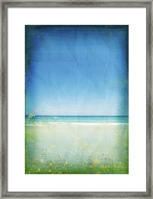 Sea And Sky On Old Paper Framed Print by Setsiri Silapasuwanchai
