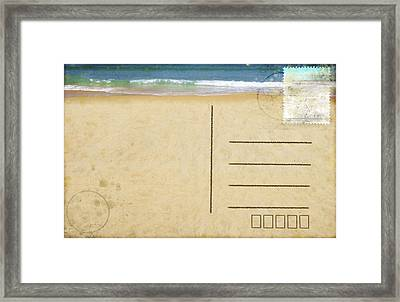 Sea Beach On Postcard  Framed Print by Setsiri Silapasuwanchai