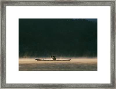 Sea Kayak Silhouette On Potomac River Framed Print by Skip Brown
