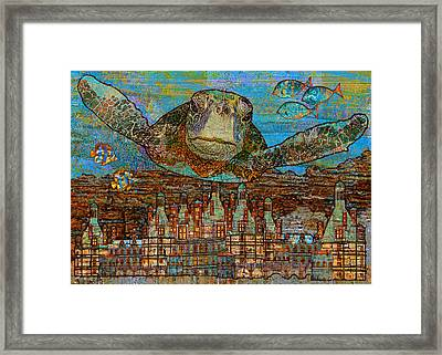 Sea Turtle Over Atlantis Framed Print by Mary Ogle