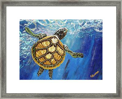 Sea Turtle Takes A Breath Framed Print by Lisa Kramer