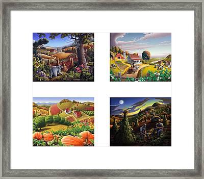 seasonal farm country folk art-set of 4 farms prints amricana American Americana print series Framed Print by Walt Curlee