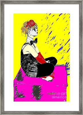 Seated Coloured Clown Framed Print by Joanne Claxton