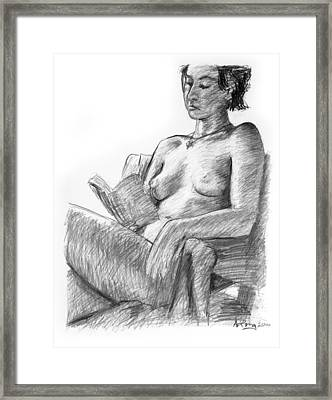 Seated Nude Reading Figure Drawing Framed Print by Adam Long