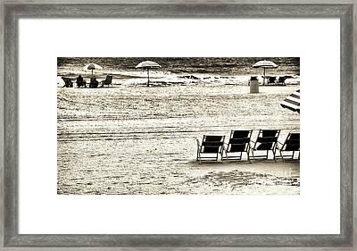 Seats On The Beach Framed Print by John Rizzuto