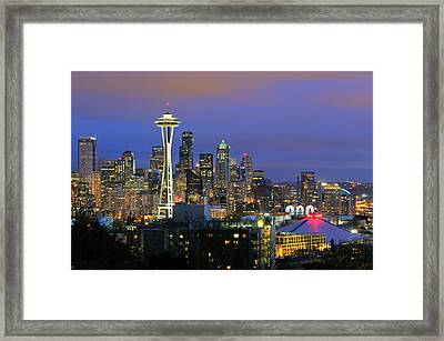 Seattle Skyline Framed Print by Tom Schwabel