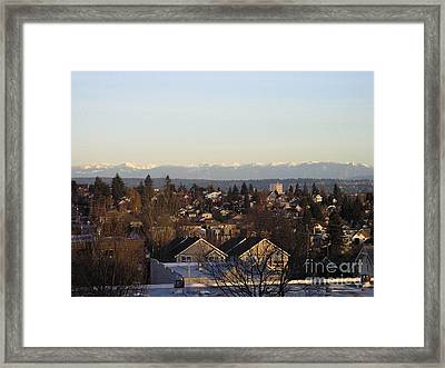 Seattle Suburb In Winter Framed Print by Silvie Kendall