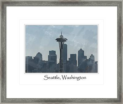 Seattle Washington Skyline Framed Print by Brandon Bourdages