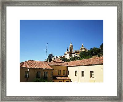 Segovia Castle Alcazar View Of Homes In The Hills Below With Blue Sky In Spain Framed Print by John Shiron