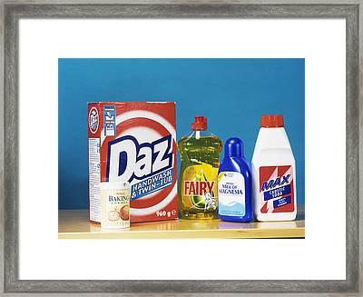 Selection Of Common Household Alkalis Framed Print by Andrew Lambert Photography