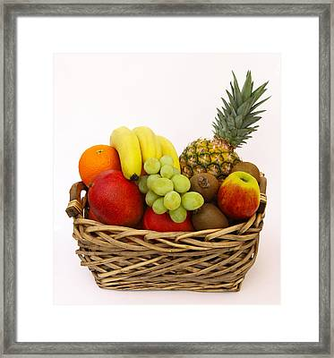 Selection Of Tempting Fresh Fruits In A Basket Framed Print by Rosemary Calvert