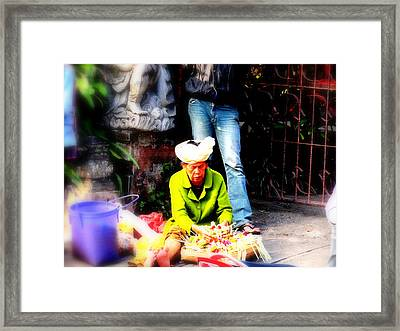 Selling Offerings On Ubud Streets Framed Print by Funkpix Photo Hunter