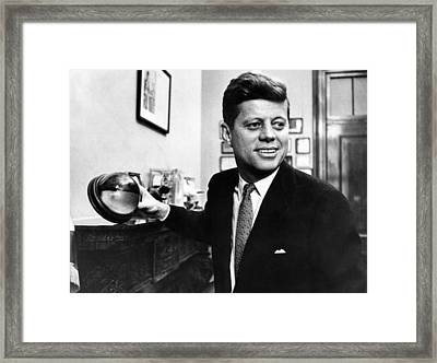Senator John F. Kennedy, Holds Framed Print by Everett