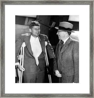 Senator John F. Kennedy, On Crutches Framed Print by Everett