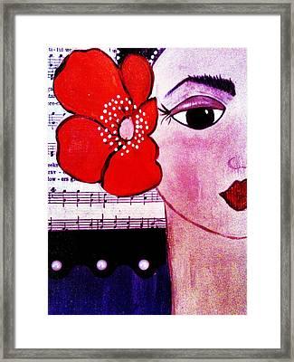 Senorita Con Flor Framed Print by Lucia Meza