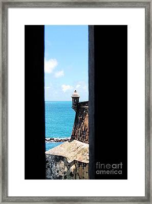 Sentry Tower View Castillo San Felipe Del Morro San Juan Puerto Rico Ink Outlines Framed Print by Shawn O'Brien